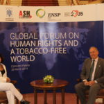 2019-03-26 Global Forum Human Rights and tobacco Control, Bucarest, Rumania (RAquel Fdez y Francisco Rodriguez Lozano, Presidente ENSP)